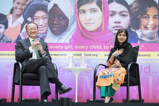 World Bank Group President Jim Yong Kim speaks with Malala Yousafzai at the World Bank on Friday, October 11. Malala is an education activist from Pakistan who was shot in the head by the Taliban in 2012 for attending school.