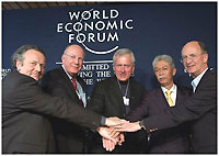 (From left to right) Mark Pieth, Chairman, Working Group on Bribery, Organisation for Economic Co-operation and Development (OECD), Wayne Murdy, Chairman and CEO, Newmont Mining Corporation, Alan Boeckmann, Chairman and CEO, Fluor Corporation, Hassan Marican, President and CEO, PETRONAS (Petroliam Nasional), Jermyn Brooks, Member of the Board of Directors, Transparency International