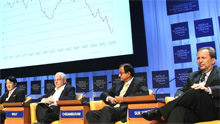 (from left) Heizo Takenaka, Minister for Internal Affairs and Communications and for the Privatization of Postal Services of Japan, Martin Wolf, Associate Editor and Chief Economics Commentator, Financial Times, United Kingdom, Palaniappan Chidambaram, Minister of Finance of India and Lawrence H. Summers, President, Harvard University, USA; Co-Chair of the Annual Meeting 2006