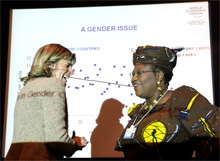 Anne Lauvergeon (L), Chairman of the Executive Board, Areva, France and Ngozi Okonjo-Iweala (R), Minister of Finance of Nigeria, captured during the session 'Economics of Equality' at the Annual Meeting 2006