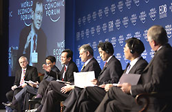 From left to right : Nik Gowing of BBC, Mohamed A.Alabbar of UAE, Raymond Lim of Singapore, Claude R. Begle of Germany, Ichiro Aisawa of Japan, Jiang Jianqing of China, Michael Hawker of Australia