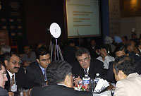 Participants working during the Town Hall