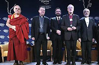 Matthieu Ricard, Co-Director, Shechen Monastery (Tibetan Buddhism), Nepal, Diarmuid Martin, Archbishop of Dublin, Ireland, David Rosen, President, International Jewish Committee for Interreligious Relations, USA, Master of Ceremonies, Lord Carey of Clifton, Former Archbishop of Canterbury, United Kingdom; Imam Feisal Abdul Rauf, Founder and Chairman, Cordoba Initiative, USA, Bartholomew, Ecumenical Patriarch, Turkey, Jaggi Vasudev, Sadhguru and Founder, Isha Foundation, India, Member of the Foundation Board of the World Economic Forum