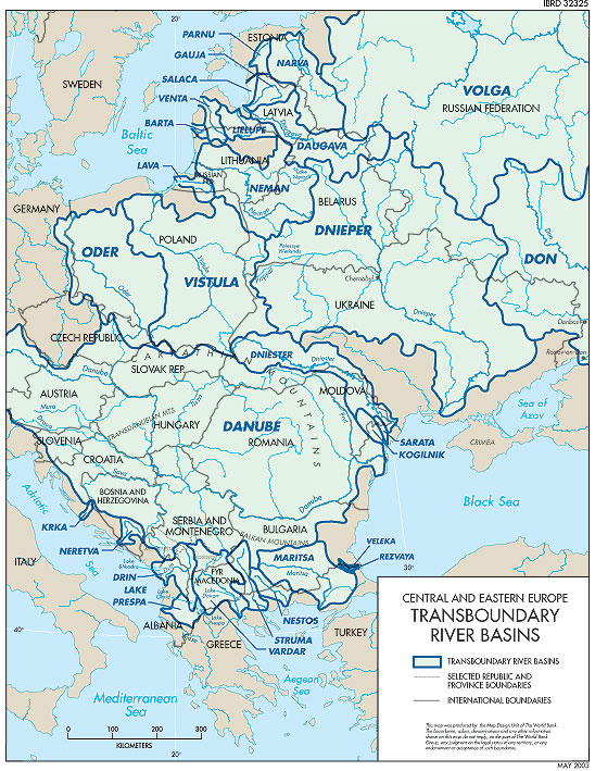 Eastern Europe Map Rivers.Cee Transbaundary River Basins