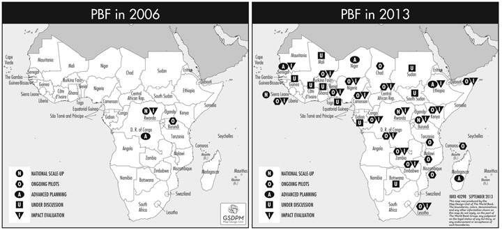 Map that shows rapid expansion of PBF programs in Africa between 2006 and 2013
